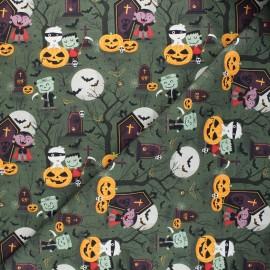 Tissu coton cretonne Scary friends - vert foncé x 10cm