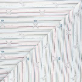 Cretonne cotton fabric - white Baby bunny x 10cm