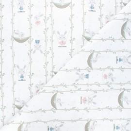 Tissu coton cretonne Acrobatic bunnies - blanc x 10cm