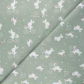 Tissu coton cretonne Funny bunny - vert sauge x 10cm