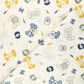 Tissu sweat léger Draw skull - beige chiné x 10cm