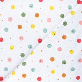 French terry fabric - mottled grey Smiling dots x 10cm