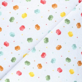 Tissu sweat léger Toy bricks - gris chiné x 10cm