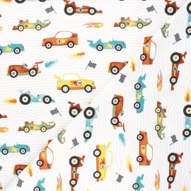 Jersey cotton fabric - white Fast cars x 10cm