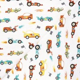 Tissu jersey Fast cars - blanc x 10cm