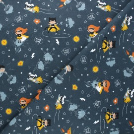 Jersey cotton fabric - navy blue Friends and heroes x 10cm