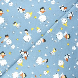 Jersey cotton fabric - blue Space heroes x 10cm