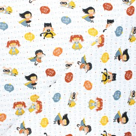 Jersey cotton fabric - white Super girls x 10cm