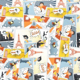 Jersey cotton fabric - white City heroes x 10cm