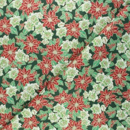 Tissu coton cretonne Fleurs de Noël - vert x 10cm