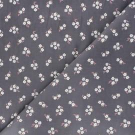 Tissu velours milleraies Poppy Small flowers - gris x 10cm