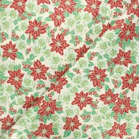 Tissu coton cretonne Fleurs de Noël - ivoire x 10cm