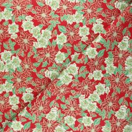 Tissu coton cretonne Fleurs de Noël - rouge x 10cm