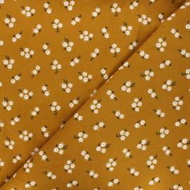 Poppy milleraies velvet fabric - mustard yellow Small flowers x 10cm
