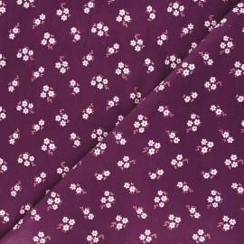 Poppy milleraies velvet fabric - purple Small flowers x 10cm