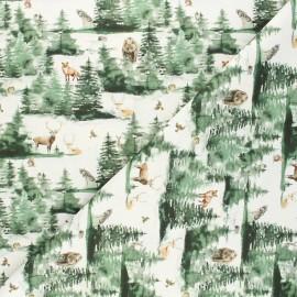 Tissu coton cretonne Animaux des bois - naturel x 10cm