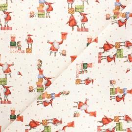 Cretonne cotton fabric - natural Christmas team x 10cm