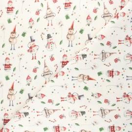 Cretonne cotton fabric - natural Christmas snowman x 10cm