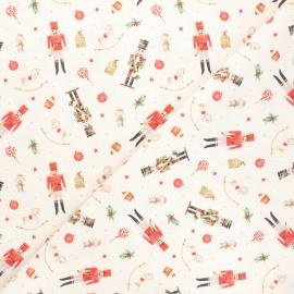 Cretonne cotton fabric - natural Christmas toys x 10cm