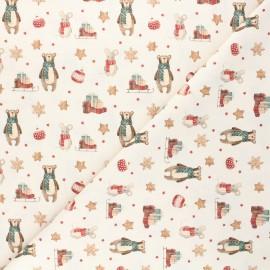 Tissu coton cretonne Teddy delivery - naturel x 10cm