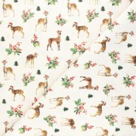Cretonne cotton fabric - natural Christmas bambi x 10cm