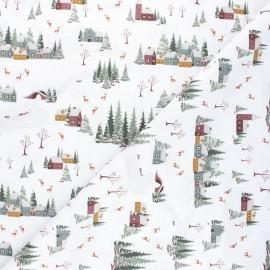 Cretonne cotton fabric - white Winter village x 10cm