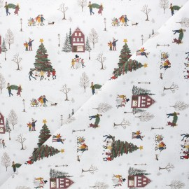 Cretonne cotton fabric - white Happy winter x 10cm