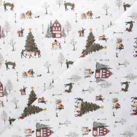 Tissu coton cretonne Happy winter - blanc x 10cm