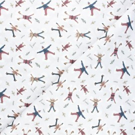 Cretonne cotton fabric - grey Snow angels x 10cm