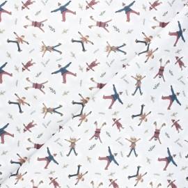 Tissu coton cretonne Snow angels - gris x 10cm