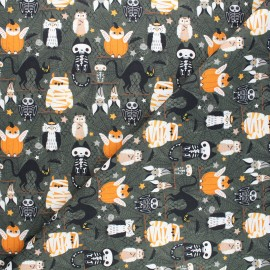 Tissu coton cretonne Halloween animals - vert foncé x 10cm