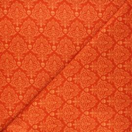 Cotton fabric Spooky night - orange Spooky skull x 10cm