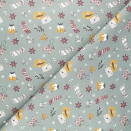 Tissu coton cretonne Winter mood - vert x 10cm