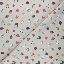Cretonne cotton fabric - taupe Winter caps x 10cm