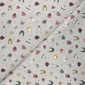 Tissu coton cretonne Winter caps - taupe x 10cm