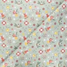 Tissu coton cretonne Winter celebrations - vert x 10cm