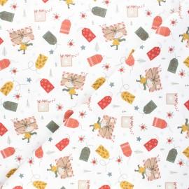 Cretonne cotton fabric - white Christmas letters x 10cm