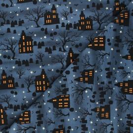 Cotton fabric Spooky night - midnight blue Spooky house x 10cm