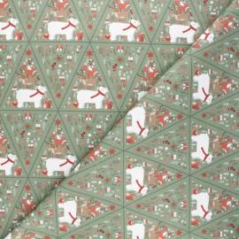 Cretonne cotton fabric - green Christmas fanions x 10cm