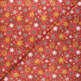 Cretonne cotton fabric - red Warm snowflakes x 10cm