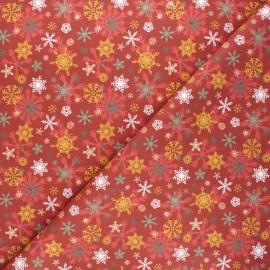 Tissu coton cretonne Warm snowflakes - rouge x 10cm