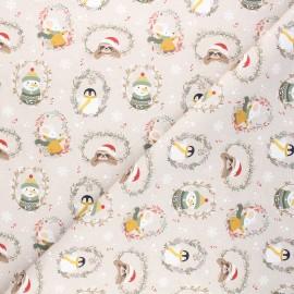 Cretonne cotton fabric - taupe Coldy friends x 10cm