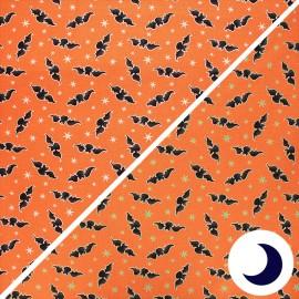 Phosphorescent cotton fabric Here we glow - orange Bats x 10cm