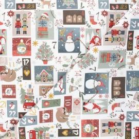 Tissu coton cretonne Advent calendar - blanc x 23cm