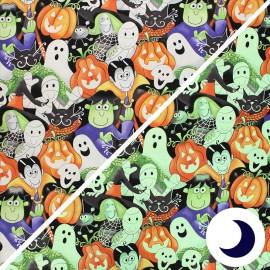 Tissu coton phosphorescent Here we glow - Faces - multicolore x 10cm