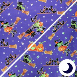Phosphorescent cotton fabric Here we glow - purple Flying witches x 10cm