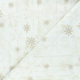 Timeless Treasures cotton fabric - raw Stamped snowflakes x 10cm