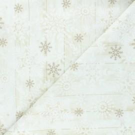 Tissu coton Timeless Treasures - Stamped snowflakes - écru x 10cm