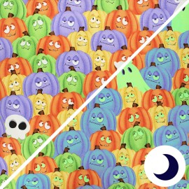 Phosphorescent cotton fabric Glow ghosts - multicolor Pumpkins and ghosts x 10cm