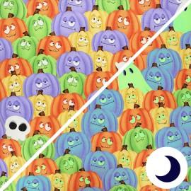 Tissu coton phosphorescent Glow ghosts - Pumpkins and ghosts - multicolore x 10cm